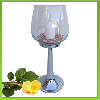 45cm Silver base & Glass Bowl Vase