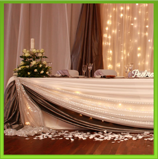 Silver & Glitter Main Table Draping