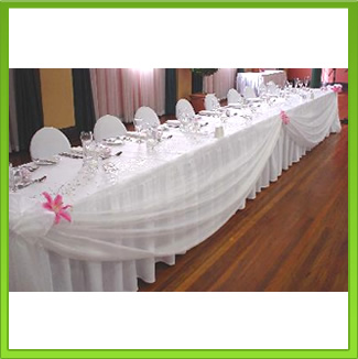 White Organza Main Table Draping